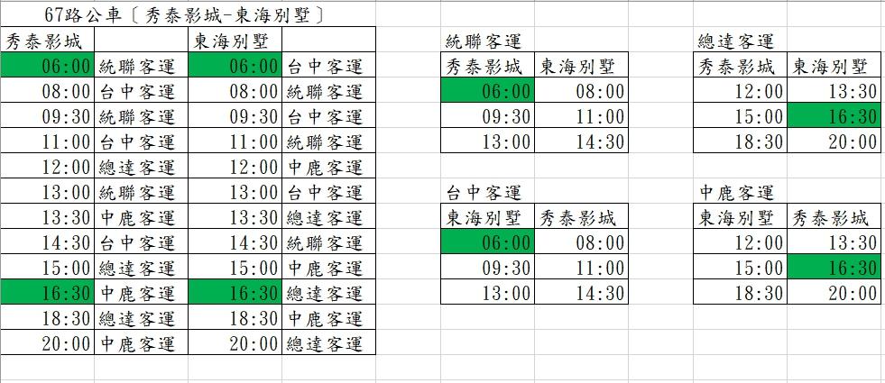 台中市公車67路 代駛 時刻表