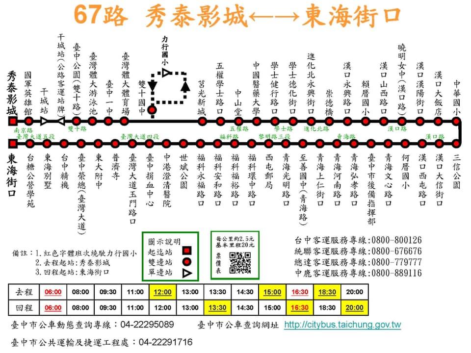 台中市公車67路 路線圖